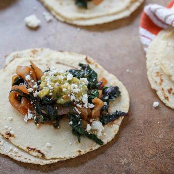 Swiss Chard & Onion Taco