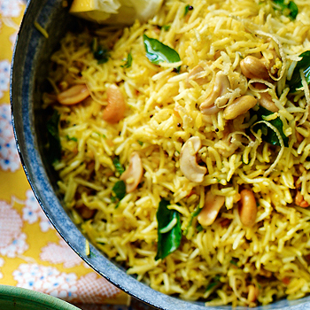 Lemon Rice with Cashews, Peas, Ghee & Cumin