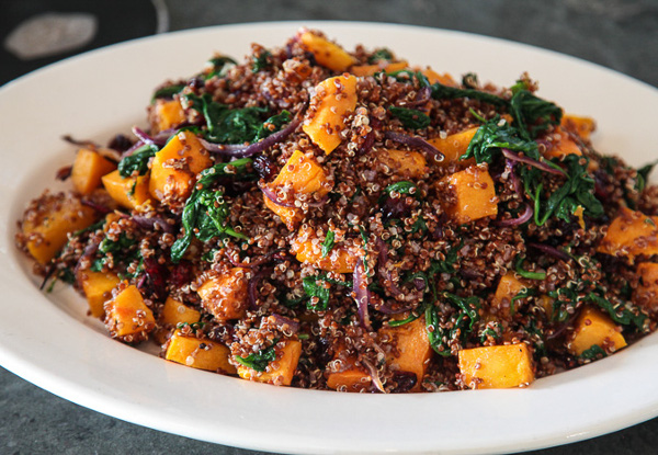 Basil Butternut Squash over Coconut Quinoa