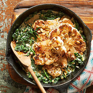 Grilled Cauliflower Steaks with Tahini & Spring Greens Ayurveda Recipe