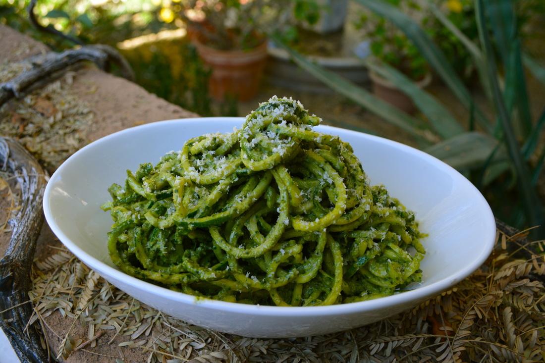 Raw Zucchini Noodles with Basil & Avocado Sauce Ayurveda Recipe