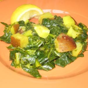 Collard Greens with Potato, Lemon & Turmeric