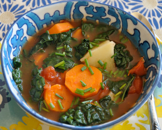 Kale & Carrot Soup with Ginger, Fennel & Lime