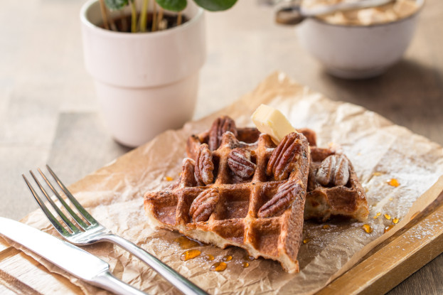 Pumpkin Waffles with Pecan Maple Syrup
