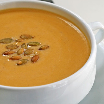 Carrot Soup with Sunflower Seeds & Raisins