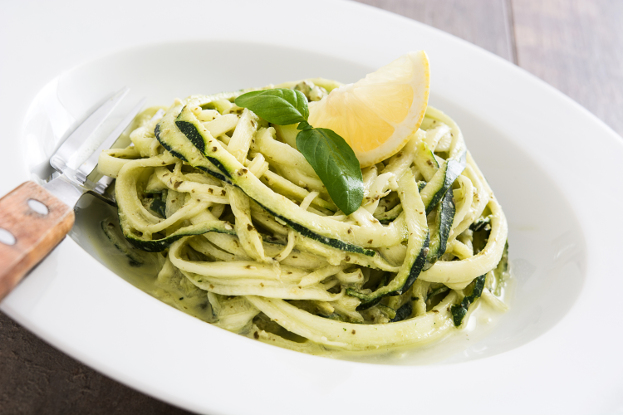 Raw Zucchini Noodles & Mint Walnut Pesto Ayurveda Recipe